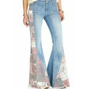 Free People Bali Patchwork Flare Jeans Size 25